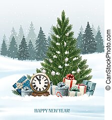 Holiday background with a Christmas tree and presents and clock. Vector.