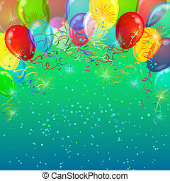 Holiday background with various color balloons, fireworks and confetti. Vector eps10, contains transparencies