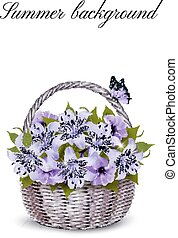 Holiday Background With Basket Full Of Beauty Flowers. Vector.