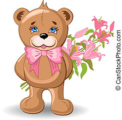 Holiday Background With Bear. Vector - Holiday background...