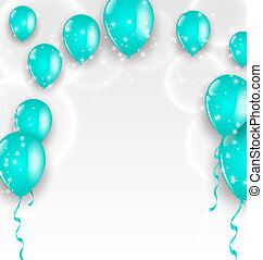 Holiday background with blue balloons