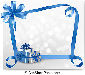 Holiday background with blue bows - Holiday background with...