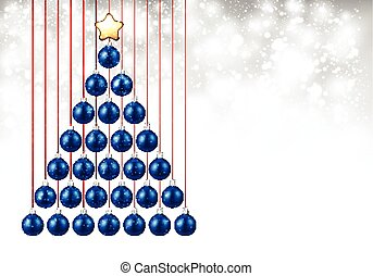 Holiday background with blue Christmas tree.