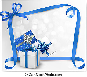 Holiday background with blue gift bows with blue ribbons....