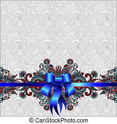 Holiday background with blue ribbon