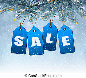Holiday background with blue sale tags. Concept of discount shopping. Vector.