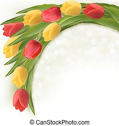 Holiday background with bouquet of colorful flowers. Vector illustration