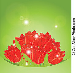 Holiday background with bouquet of flowers