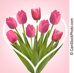 Holiday background with bouquet of pink flowers. Vector illustration.