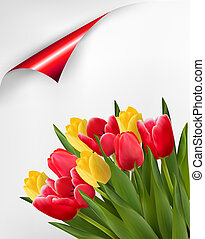 Holiday background with bouquet of red and yellow flowers. Vector illustration.