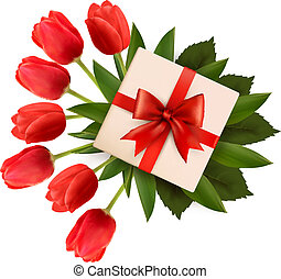 Holiday background with bouquet of red flowers and gift box. Vector illustration.