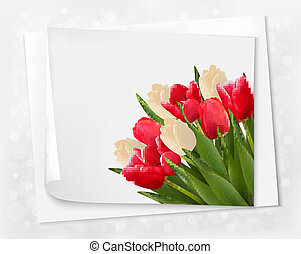 Holiday background with bouquet of red flowers with bow and ribbon. Vector illustration.