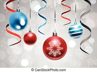 Holiday Background With Christmas Balls And Ribbons Colorful New Year Decoration Banner