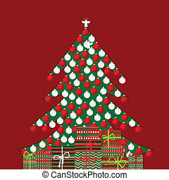 Holiday background with Christmas tree and gift boxes
