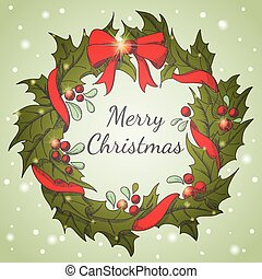 Holiday background with Christmas wreath