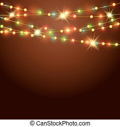 Holiday background with colored  garland