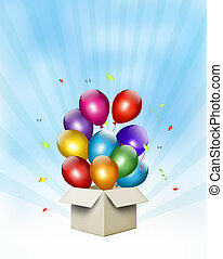 Holiday background with colorful balloons and open gift box....