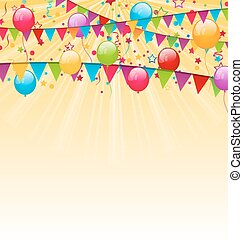 Holiday background with colorful balloons, hanging flags and...