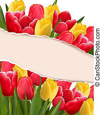 Holiday background with colorful flowers and ripped paper....