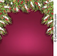 Holiday Background with Fir Branches and Berries