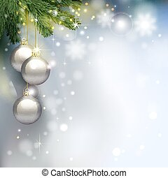 Holiday background with fir tree branches and shining evening balls.