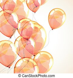 holiday background with flying yellow balloons