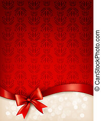 Holiday background with gift glossy bow and ribbon. Vector illustration