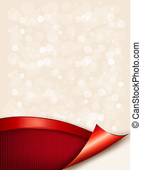 Holiday background with gift glossy bow and ribbon. Vector illustration.