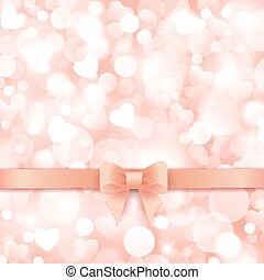 Holiday background with gift pink bow and ribbon.
