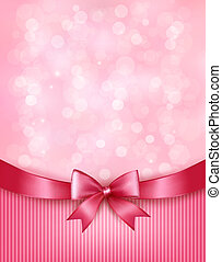 Holiday background with gift pink bow and ribbon. Vector