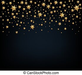 Holiday background with golden stars. Christmas decoration. Vect