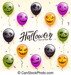 Holiday Background with Halloween Balloons