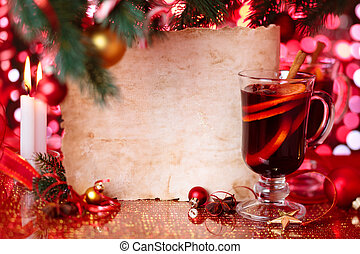 Holiday background with mulled wine.