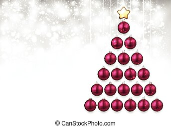 Holiday background with pink Christmas tree.