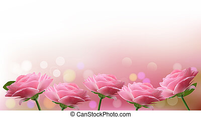 Holiday background with  pink flowers. Vector illustration