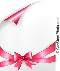 Holiday background with pink gift bow and ribbons. Vector
