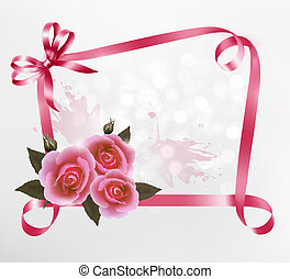 Holiday background with pink roses and ribbons. Vector illustration.