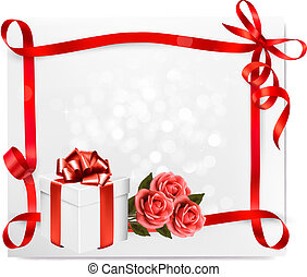 Holiday background with pink roses and gift box. Vector illustration.
