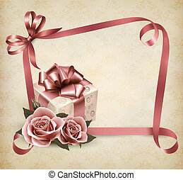 Holiday background with pink roses and gift box and ribbon. Vector.