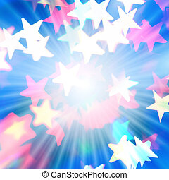 Holiday background with rays of light and star-shaped highlights