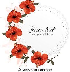 Holiday background with red beautiful flowers. Vector.