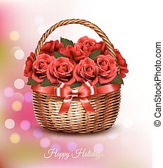 Holiday background with red flowers and basket and red ribbon. Vector.