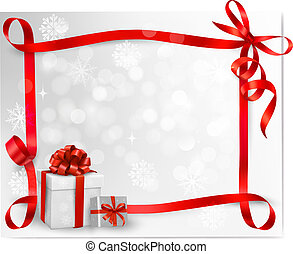 Holiday background with red gift bow with gift boxes. Vector...