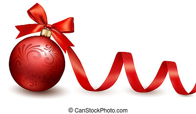 Holiday background with red gift bow with gift ball. Vector illustration.