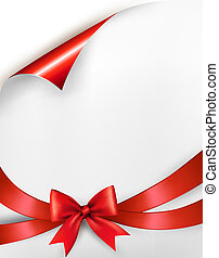 Holiday background with red gift glossy bow and ribbon. Vector