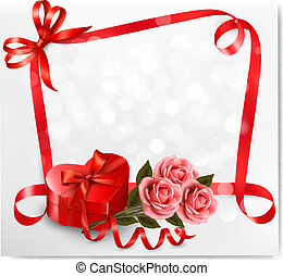 Holiday background with red heart-shaped gift box and flowers. Valentine's background. Vector illustration.