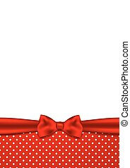 Holiday background with red ribbon and bow
