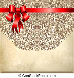 Holiday background with red ribbon and floral ornament on grunge background, EPS10