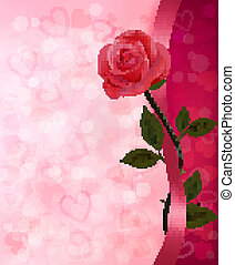 Holiday background with red rose and ribbon. Valentines Day. Vector