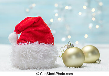 Holiday background with Santa Claus hat